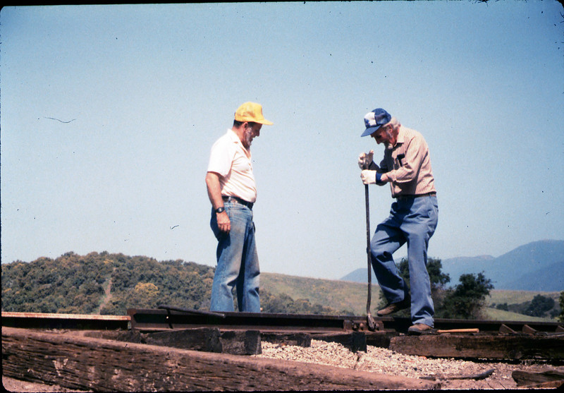 Gene Boswell and Malcolm Alexander work on the track addition, 4/18/1987 acc2005.001.0764