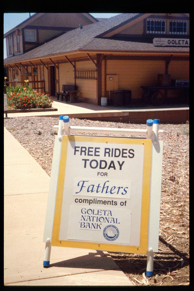 """Goleta National Bank sponsored """"Free Rides For Dads"""" on Father's Day, June 18, 1994. acc2005.001.1957"""