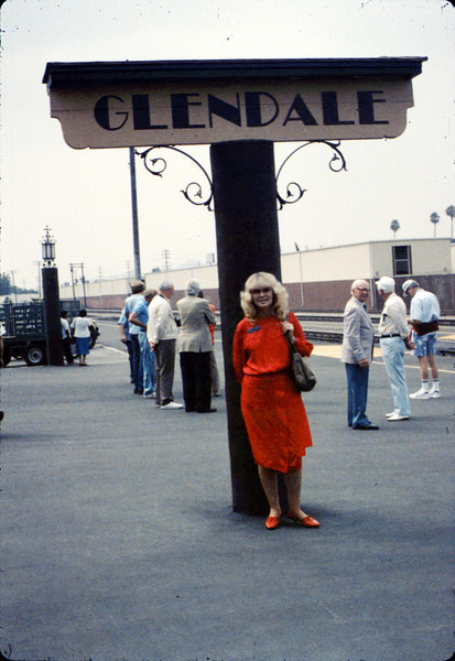 Phyllis Olsen in Glendale on the day before the Amtrak San Diegan inaugural event in Santa Barbara, 6/25/1988. acc2005.001.0988