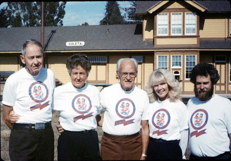 Handcar racing team back home Gene Allen, Anna Dato, George Adams, Phyllis Olsen, and Gary Coombs, 10/1987. acc2005.001.0878