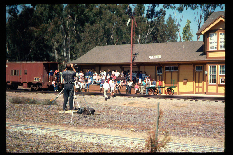 Medical Concepts Inc., a Goleta-based research firm, used Goleta Depot recently as the setting for its company photograph. All operations at company headquarters on Cremona Drive were brought to a halt for more than an hour on the afternoon of Sept. 14, 1994, while the entire staff car-pooled to the railroad museum. The final photograph captured 140 Medical Concepts employees assembled on Goleta Depot's loading dock, including workers at all levels. acc2005.001.2006