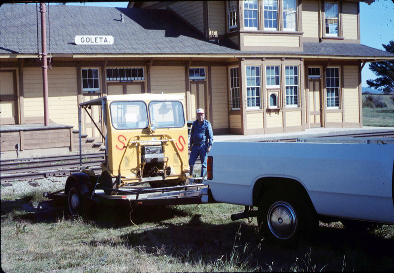 "Warren Johnson donated this inspection car (""speeder"") to the museum. Ed Lebeck is pictured, 1/17/1987 acc2005.001.0669"