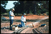 Jack Cogan and Ron Ferguson work on miniature-train expansion which will add 600 feet to route, Summer 1994. acc2005.001.2015