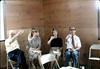 Goleta Beautiful holds first board meeting in Waiting Room, 7/1982 (from left, Steve Sullivan, Sabra Stevens, board member, Ken Kruger). acc2005.001.0269