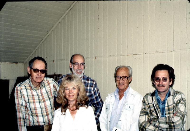 Gene Allen, Phyllis Olsen, Ray Baird, George Adams,and Michael Glassow, Feb. 1982. acc2005.001.0147