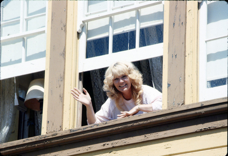Laying of the standard-gauge track (Phyllis Olsen watches from Goleta Depot second floor window), 4/2/1985 acc2005.001.0480H