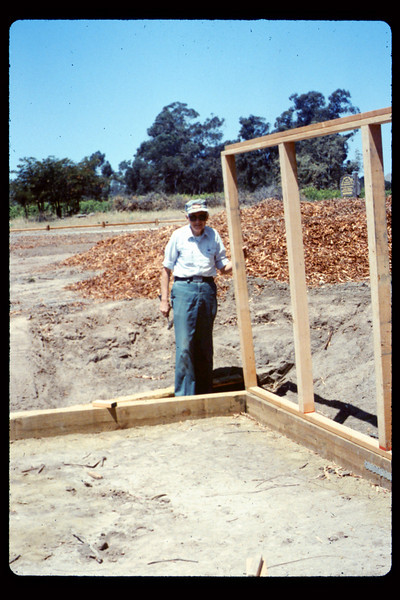 Gene Allen and framing for miniature-train shed, 6/1990. acc2005.001.1341