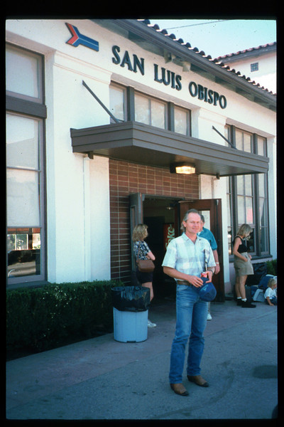 As one of the first steps toward creation of a Coast Starlight interpretive program, Museum Trustee Ben Beede and Museum Director Gary Coombs took the Santa Barbara-to-San Luis Obispo Amtrak run on July 25, 1994. Reported on Page 1 of the Depot Dispatch newsletter, Vol. 14, No. 3 (Fall 1994). acc2005.001.1981