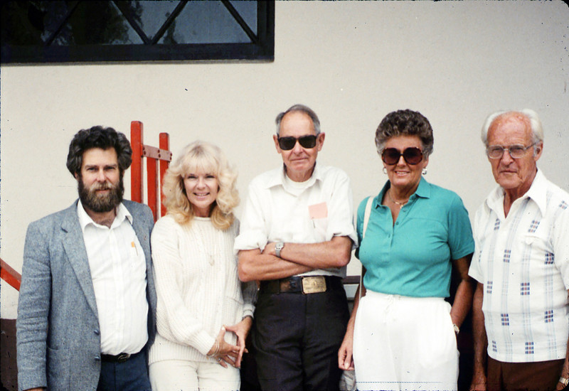 Handcar race team - Gary Coombs, Phyllis Olsen, Gene Allen, Anna Dato, and George Adams - at Santa Barbara station, 9/17/1987 acc2005.001.0861