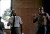 Goleta Beautiful board meeting in Waiting Room. Bob Sanger, left, and Ray Baird, right, join in toast, 7/1982. acc2005.001.0270