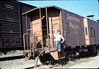 X7545 east-bound local delivers Caboose 4023 to La Patera spur, 9/21/1986 acc2005.001.0604