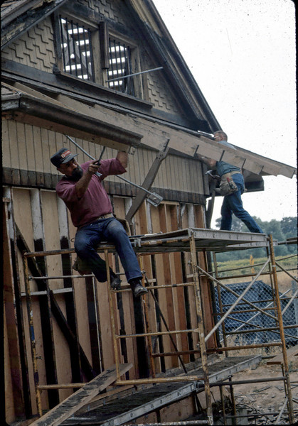 "Carpenters ""Louie"" and ""Paul"" rebuilding eave, 6/1982. acc2005.001.0226"