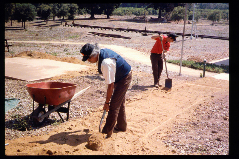 Two new paths, including one that is wheelchair-accessible, were built in 1994 from the sidewalk to the eastern portion of the museum grounds, including the train-ride boarding area. Volunteers who worked on the project were Gene Allen, Al Jaramillo, and Bill Parker. acc2005.001.1952