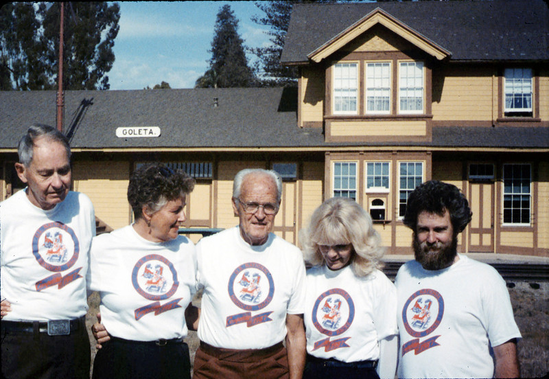 Handcar racing team back home Gene Allen, Anna Dato, George Adams, Phyllis Olsen, and Gary Coombs, 10/1987. acc2005.001.0877