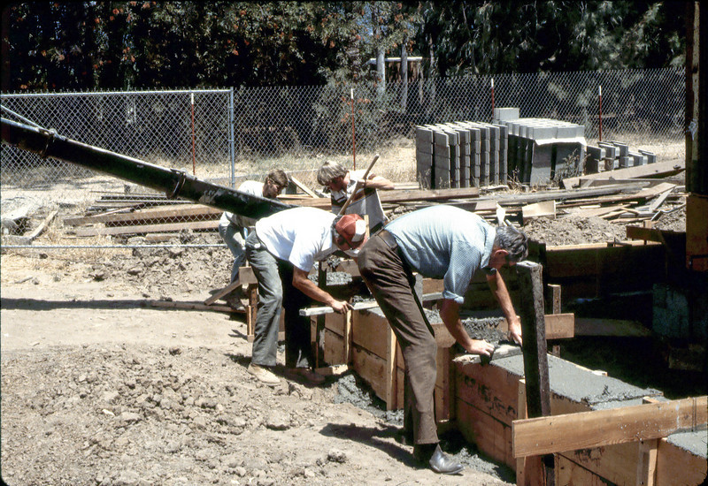 Pouring foundation for new Freight Dock, 8/1982. acc2005.001.0280