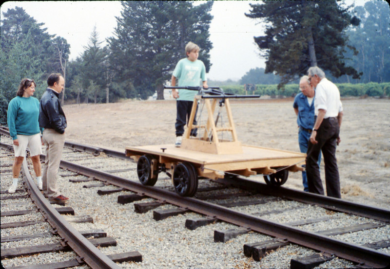 Testing the new museum handcar (Jane Hieter, left, Ralph Moore and Gene Allen, on right), 10/1989. acc2005.001.1216