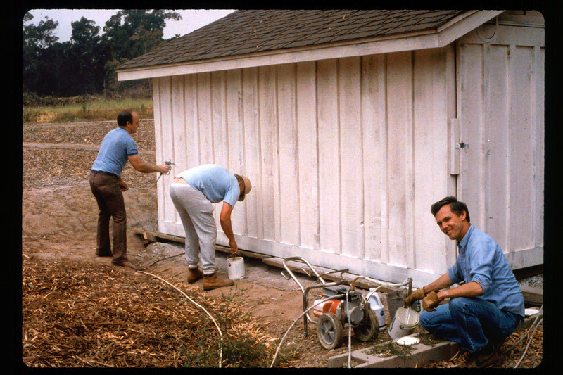 Painting the train shed (Dave Hieter, center, Jim Allen, right), 1991. acc2005.001.1473