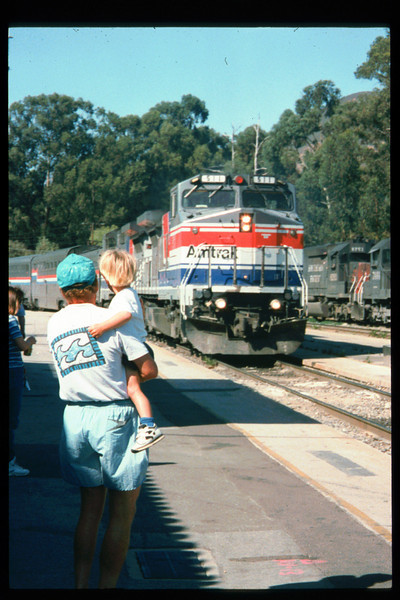 As one of the first steps toward creation of a Coast Starlight interpretive program, Museum Trustee Ben Beede and Museum Director Gary Coombs took the Santa Barbara-to-San Luis Obispo Amtrak run on July 25, 1994. Reported on Page 1 of the Depot Dispatch newsletter, Vol. 14, No. 3 (Fall 1994). acc2005.001.1982