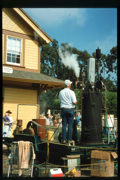 The 10th Annual Depot Day event (Jim Marchiando steam plant, whistles) was held on Sunday, Oct. 10, 1992. acc2005.001.1671