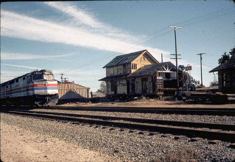 Moving Day, 11/18/1981. Last train (Amtrak Coast Starlight) passes.. acc2005.001.0075