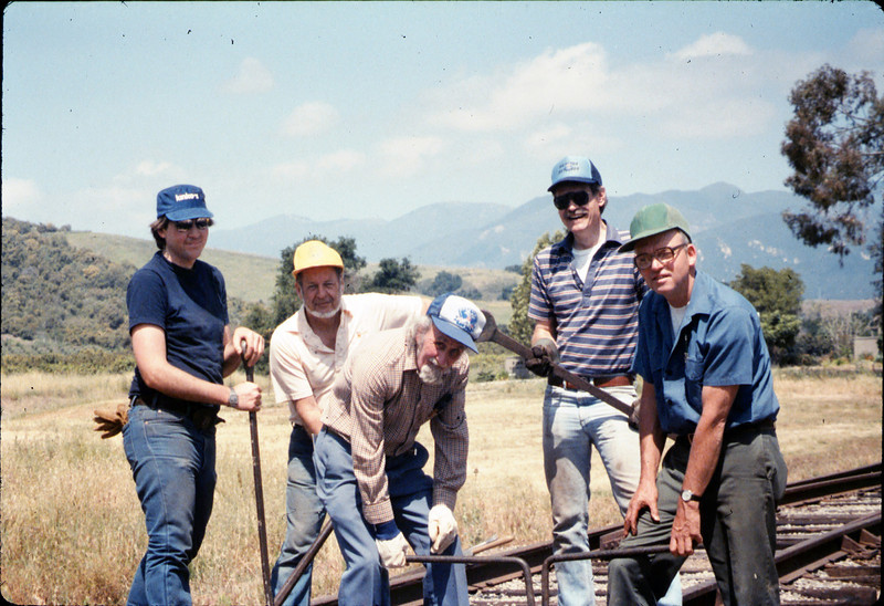 Track extension construction crew -- Ralph Moore, Gene Boswell, Malcolm Alexander, Scott Moore, and Perry Adams, 4/18/1987. acc2005.001.0765
