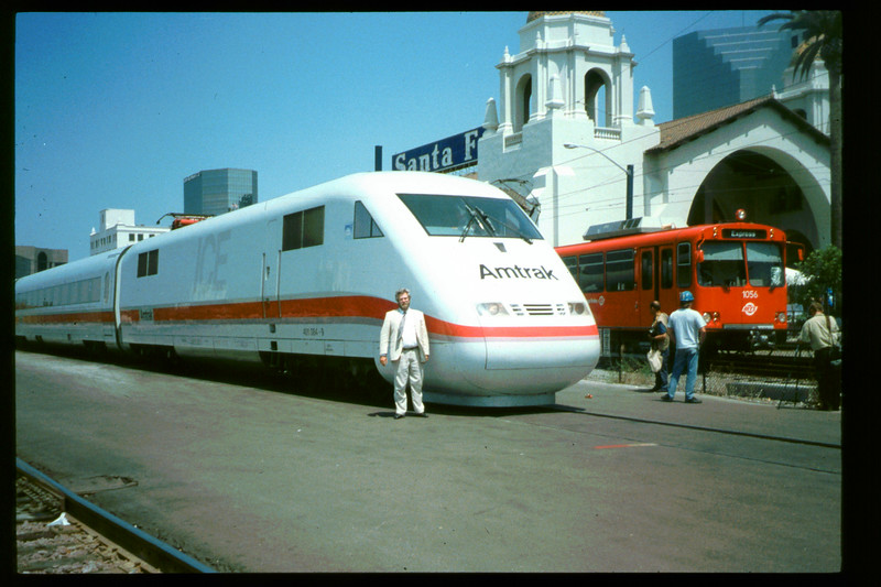 Museum Director Gary Coombs and Assistant Director Phyllis Olsen were guests of Amtrak on a demonstration run of the German ICE (Inter-City Express) train, Aug. 30, 1993. acc2005.001.1873