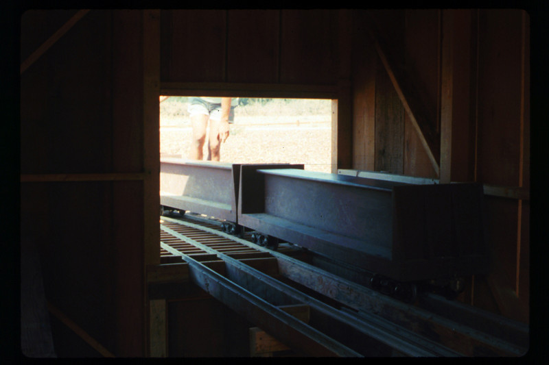 Putting the train away in the new shed (Mike Williams and Steve Kramer), 1990. acc2005.001.1434