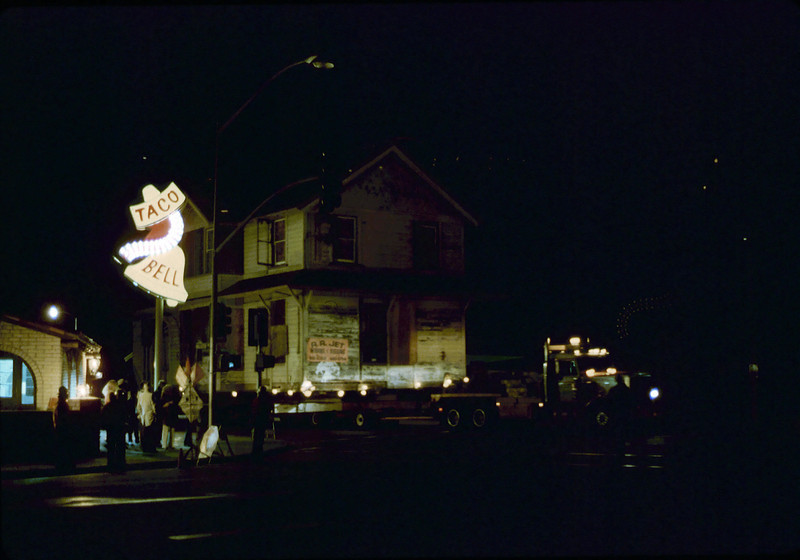 Night move, 11/18-19/1981. Michael Glassow photograph. Hollister & Fairview. acc2005.001.0091G