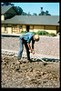Gene Allen works on miniature-train expansion which will add 600 feet to route, Summer 1994. acc2005.001.1983
