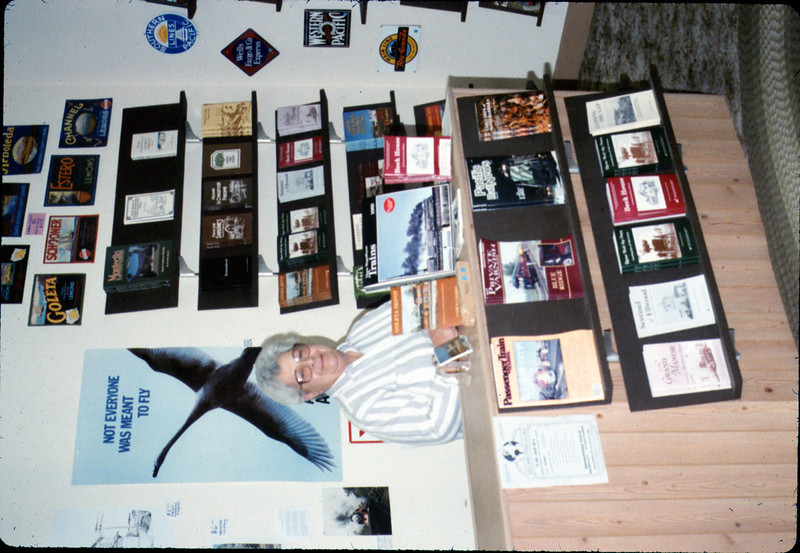 Theresa Caccese clerks in the new Trackside Shop museum store, 10/1988. acc2005.001.1016