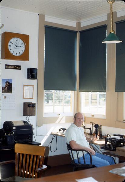 Volunteer Agent Bev Casselman in Freight Office, 1986 acc2005.001.0582