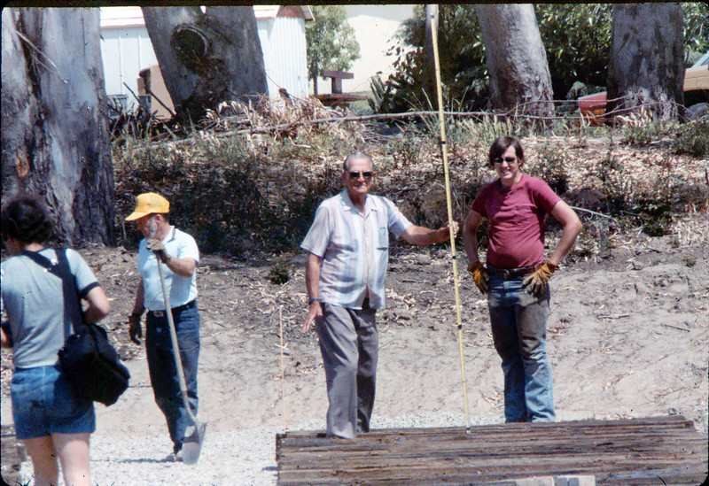 Laying of the standard-gauge track (Gene Boswell, Capt. Rodman, Scott Moore), 5/11/1985. acc2005.001.0496