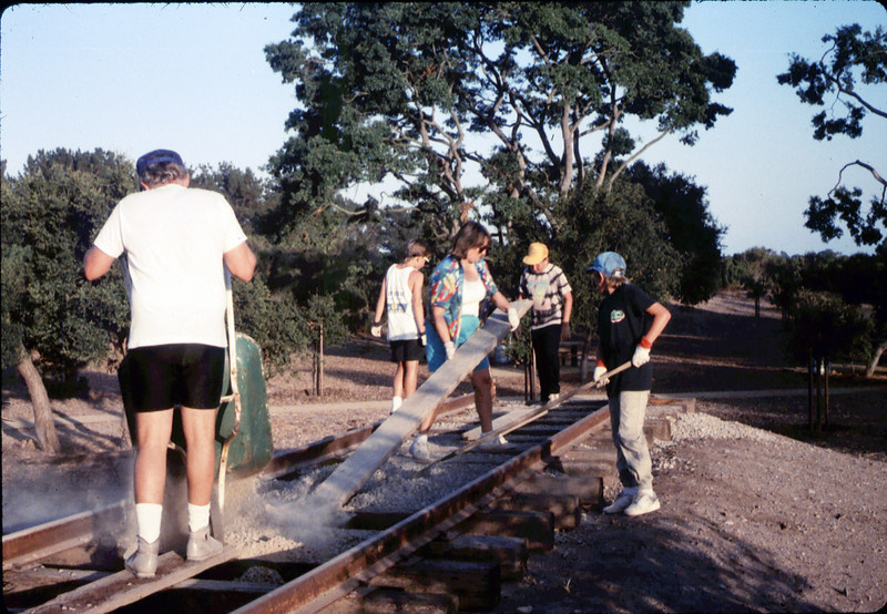 Hieter Family ballasting track at Goleta Depot, 1989. acc2005.001.1197