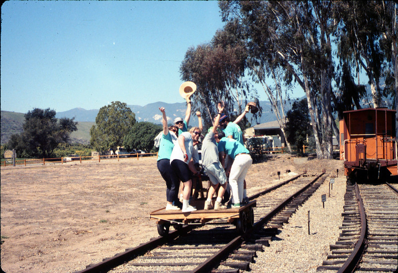 Asphalt Regatta spring fundraiser (handcar riders), 3/17/1990. acc2005.001.1313