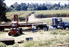 Laying of the standard-gauge track (Ed Lebeck on forklift; Gene Allen on truck), 4/2/1985 acc2005.001.0484