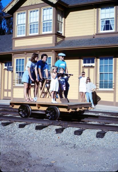 Handcar rides at museum begin, 11/1989. acc2005.001.1230
