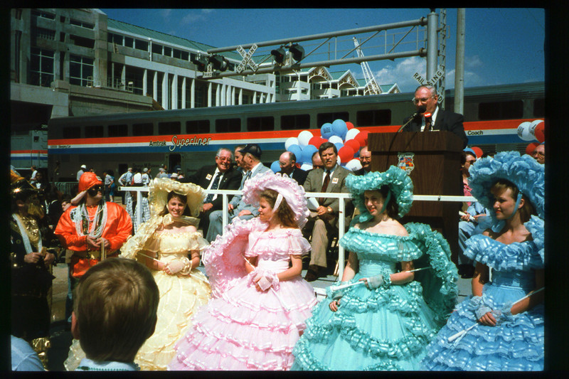 Museum Director Gary Coombs and Assistant Director Phyllis Olsen rode the inaugural cross-country Sunset Limited train, Los Angeles-to-Miami and return (Mobile, AL), as guests of Amtrak, March 28-April 6, 1993. acc2005.001.1722
