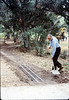 Gene Allen shovels dirt to prepare for miniature-railroad crossing at museum's entry sidewalk, 5/1987. acc2005.001.0796