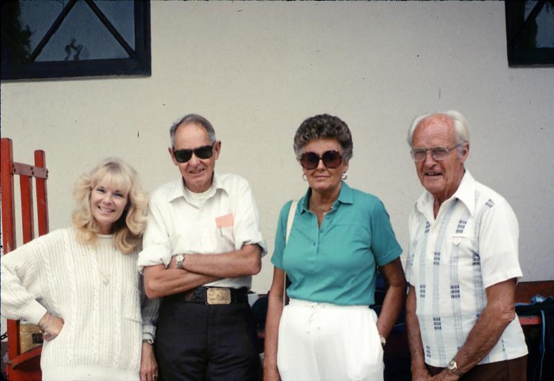 Handcar race team members - Gene Allen, Anna Dato, and George Adams - at Santa Barbara station, 9/17/1987 acc2005.001.0862