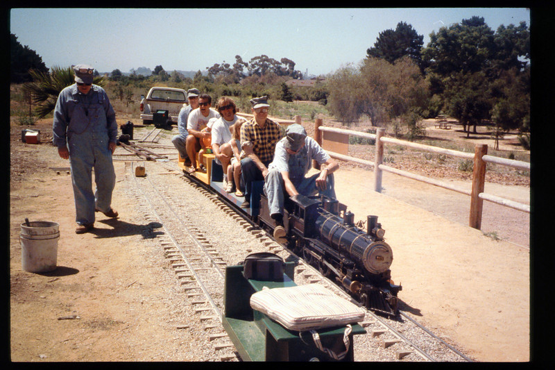First day of Steaming Summer 1994 (June 25). Other 1994 Steaming Summer dates were July 23 and Aug. 27.  Gene Allen (engineer), Randy Fallgatter (conductor), Jack Cogan (walking) acc2005.001.1960