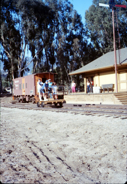 Handcar rides at museum begin, 11/1989. acc2005.001.1221