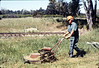 Volunteer Al Jaramillo mows weeds, 4/1986 acc2005.001.0576
