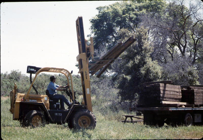 Track materials from Sears Spur in Goleta are donated to museum, 4/1987. acc2005.001.0733