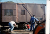 Caboose body in positioned over the awaiting truck trailer, 9/25/1986 acc2005.001.0618