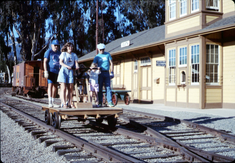 Handcar rides at museum begin, 11/1989. acc2005.001.1225