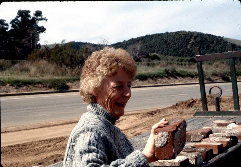 Nancy Ried selling Goleta Depot foundation bricks. acc2005.001.0163