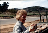 Nancy Ried selling Goleta Depot foundation bricks. acc2005.001.0163