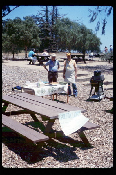 Goleta Lions member/cook Bev Casselman at Steaming Summer (Saturday), 6/1990. acc2005.001.1366