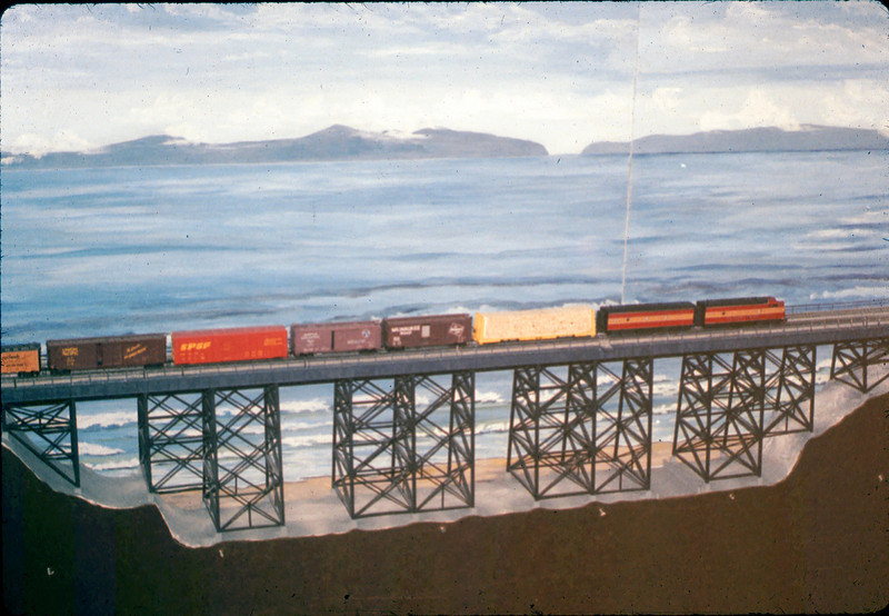 Train crosses Arroyo Hondo Bridge built by Ray Baird in Model-Railroad Exhibit, 4/1988. acc2005.001.0932