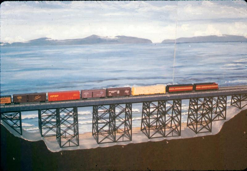 Train crosses Arroyo Hondo Bridge built by Ray Baird in Model-Railroad Exhibit, 4/1988. acc2005.001.0932
